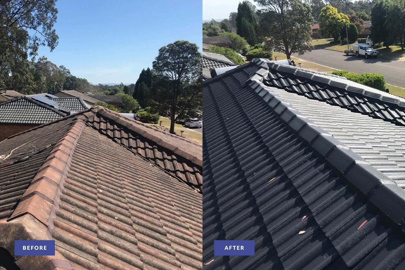 tiled roof restored and painted in newcastle before and after