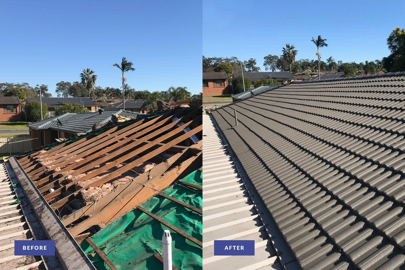 tiled roof restoration before and after