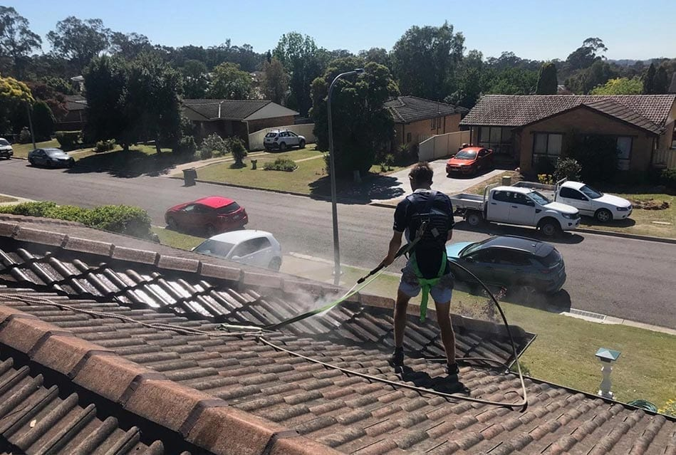 roof cleaning before restoration in newcastle